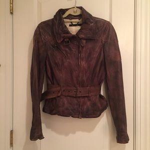 Muubaa Aviator Jacket in Brown Distressed Leather